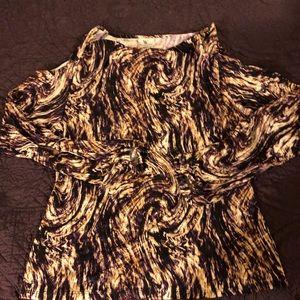 Multi colored shoulder-less knit top Sz Med NWOT